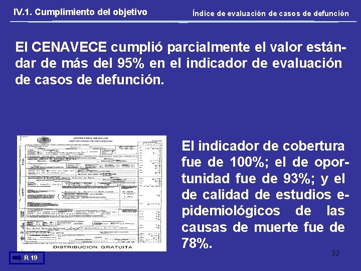 IV. 1. Cumplimiento del objetivo Índice de evaluación de casos de defunción El CENAVECE