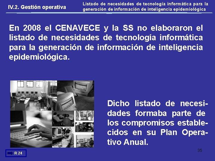 IV. 2. Gestión operativa Listado de necesidades de tecnología informática para la generación de