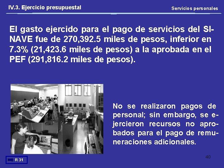 IV. 3. Ejercicio presupuestal Servicios personales El gasto ejercido para el pago de servicios