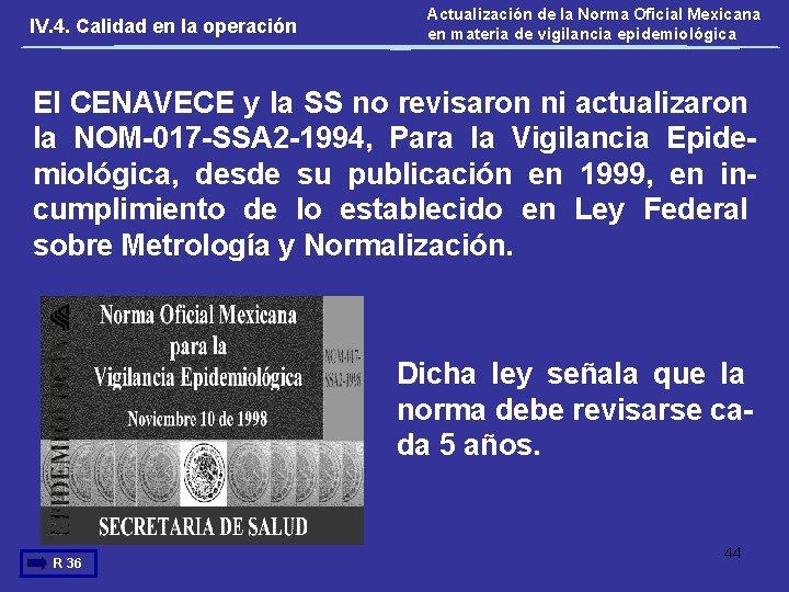 IV. 4. Calidad en la operación Actualización de la Norma Oficial Mexicana en materia