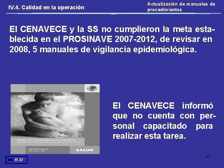 IV. 4. Calidad en la operación Actualización de manuales de procedimientos El CENAVECE y