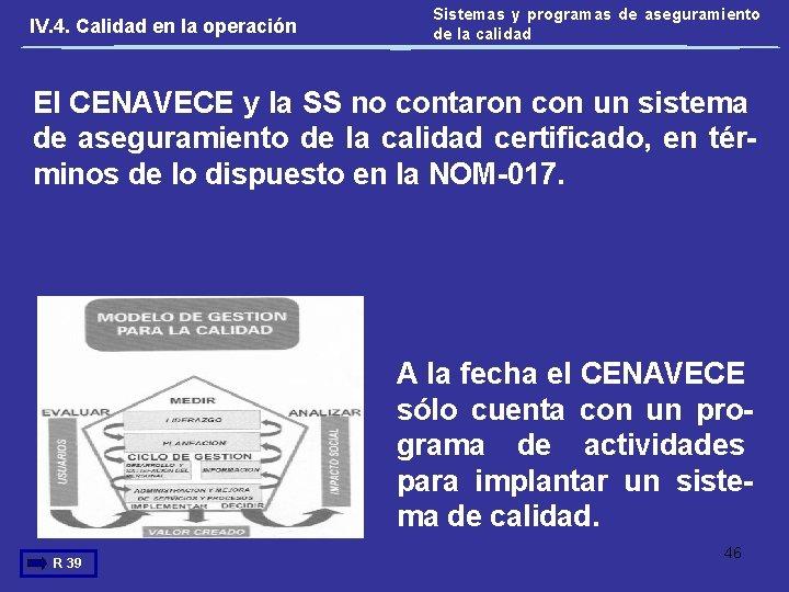 IV. 4. Calidad en la operación Sistemas y programas de aseguramiento de la calidad