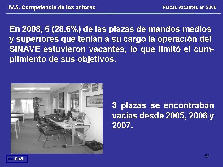 IV. 5. Competencia de los actores Plazas vacantes en 2008 En 2008, 6 (28.