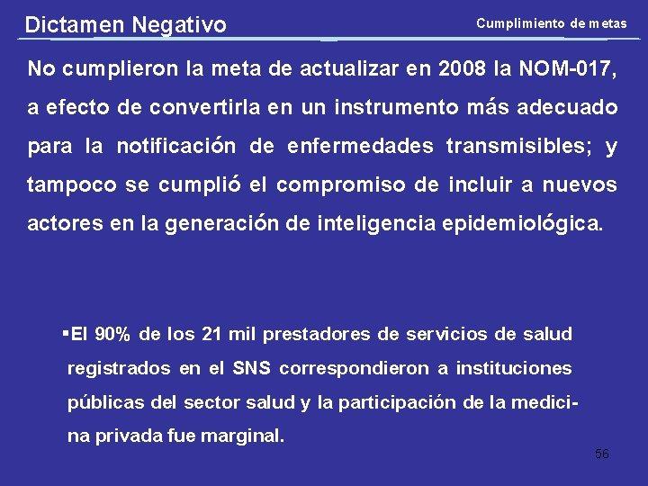 Dictamen Negativo Cumplimiento de metas No cumplieron la meta de actualizar en 2008 la