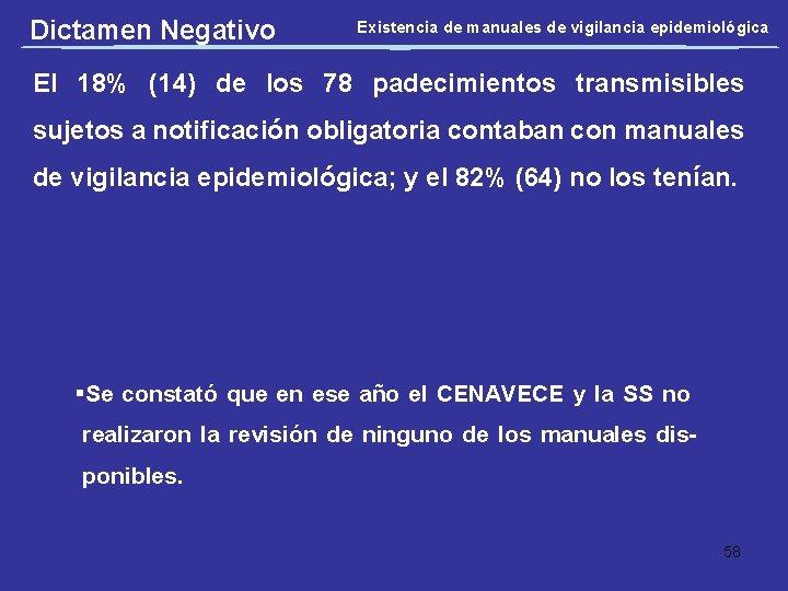 Dictamen Negativo Existencia de manuales de vigilancia epidemiológica El 18% (14) de los 78