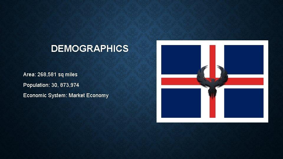 DEMOGRAPHICS Area: 268, 581 sq miles Population: 30, 873, 974 Economic System: Market Economy