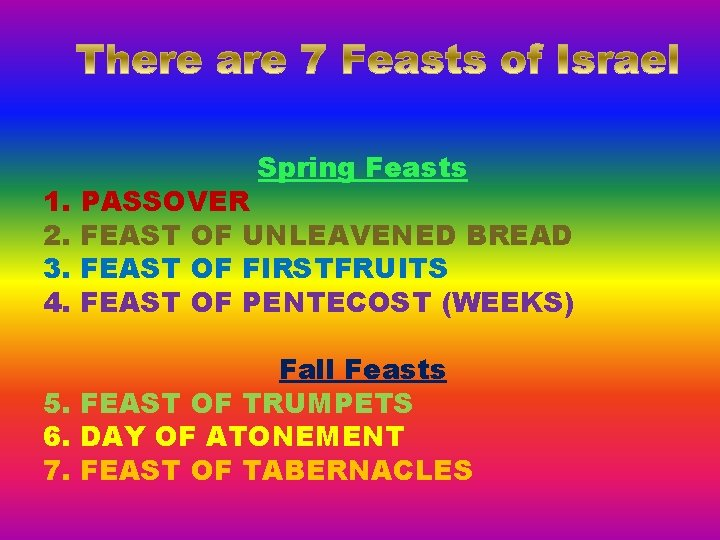 1. 2. 3. 4. Spring Feasts PASSOVER FEAST OF UNLEAVENED BREAD FEAST OF FIRSTFRUITS