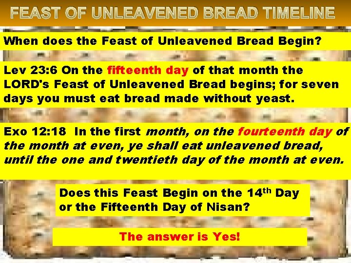 FEAST OF UNLEAVENED BREAD TIMELINE When does the Feast of Unleavened Bread Begin? Lev