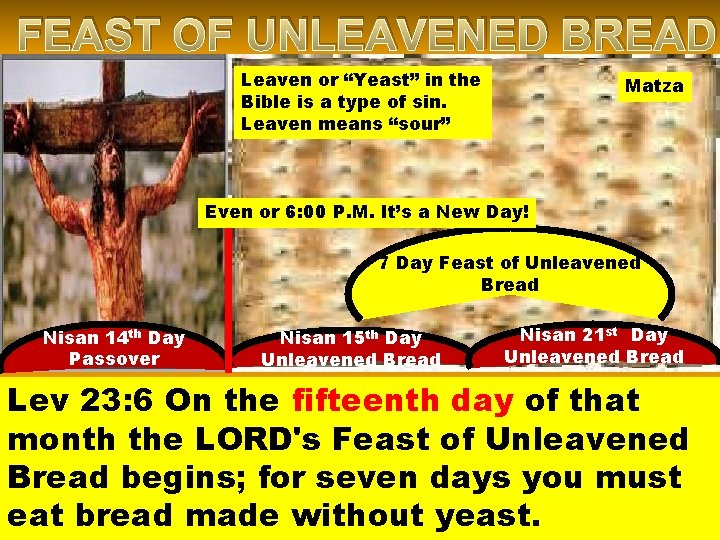 """FEAST OF UNLEAVENED BREAD Leaven or """"Yeast"""" in the Bible is a type of"""