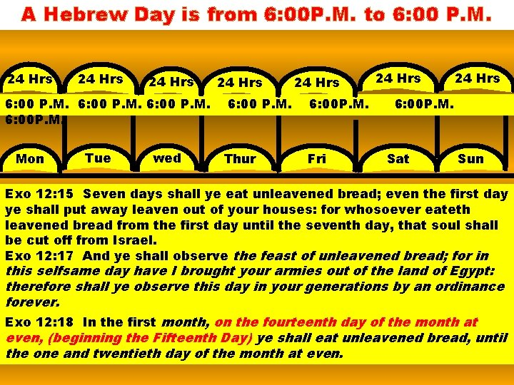 A Hebrew Day is from 6: 00 P. M. to 6: 00 P. M.