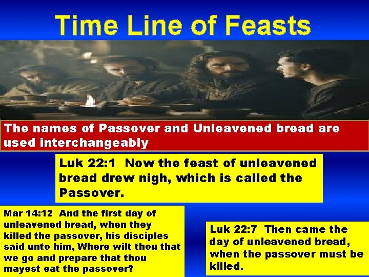 Time Line of Feasts The names of Passover and Unleavened bread are used interchangeably