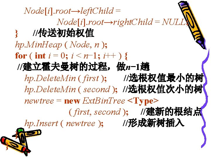 Node[i]. root→left. Child = Node[i]. root→right. Child = NULL; } //传送初始权值 hp. Min. Heap
