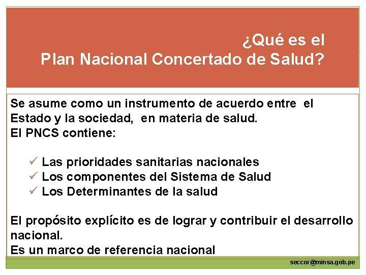 ¿Qué es el Plan Nacional Concertado de Salud? Se asume como un instrumento de
