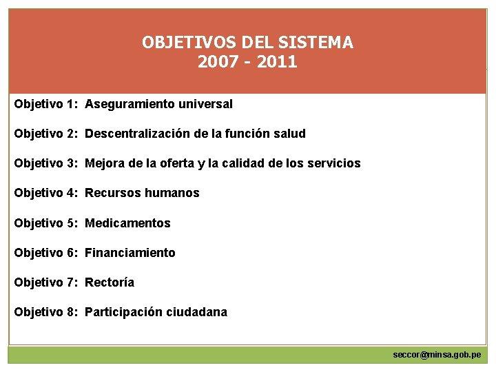 OBJETIVOS DEL SISTEMA 2007 - 2011 Objetivo 1: Aseguramiento universal Objetivo 2: Descentralización de