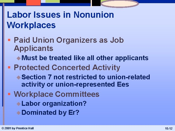 Labor Issues in Nonunion Workplaces § Paid Union Organizers as Job Applicants u Must