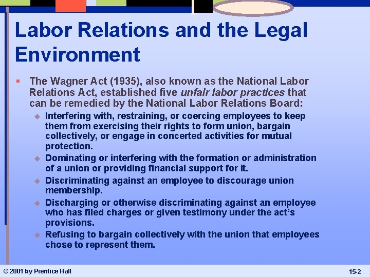Labor Relations and the Legal Environment § The Wagner Act (1935), also known as