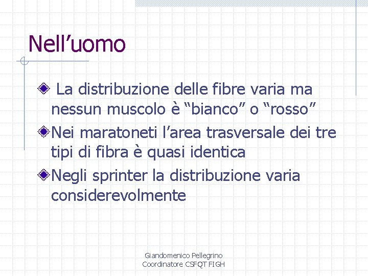 """Nell'uomo La distribuzione delle fibre varia ma nessun muscolo è """"bianco"""" o """"rosso"""" Nei"""