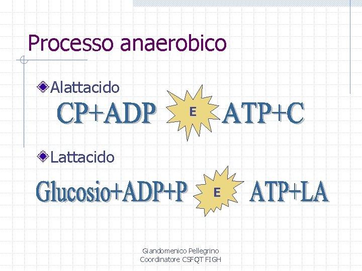 Processo anaerobico Alattacido E Lattacido E Giandomenico Pellegrino Coordinatore CSFQT FIGH