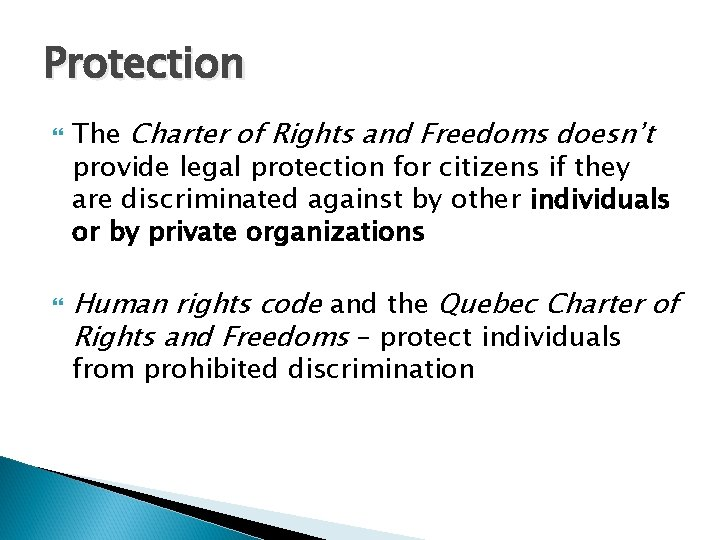 Protection The Charter of Rights and Freedoms doesn't provide legal protection for citizens if