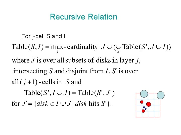 Recursive Relation For j-cell S and I,