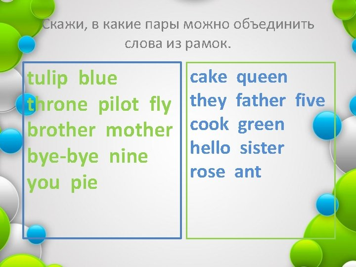Скажи, в какие пары можно объединить слова из рамок. tulip blue throne pilot fly