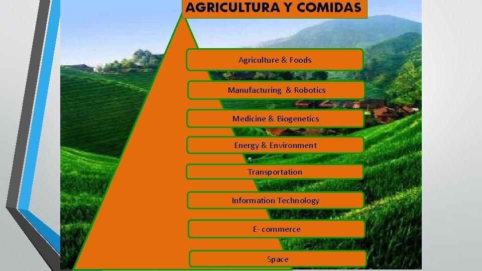 AGRICULTURA Y COMIDAS Agriculture & Foods Manufacturing & Robotics Medicine & Biogenetics Energy &