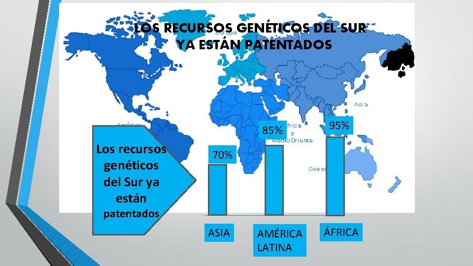 LOS RECURSOS GENÉTICOS DEL SUR YA ESTÁN PATENTADOS 85% Los recursos genéticos del Sur