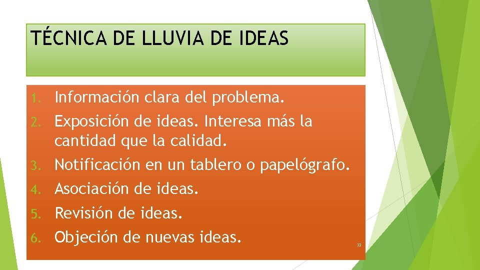 TÉCNICA DE LLUVIA DE IDEAS 1. Información clara del problema. 2. Exposición de ideas.