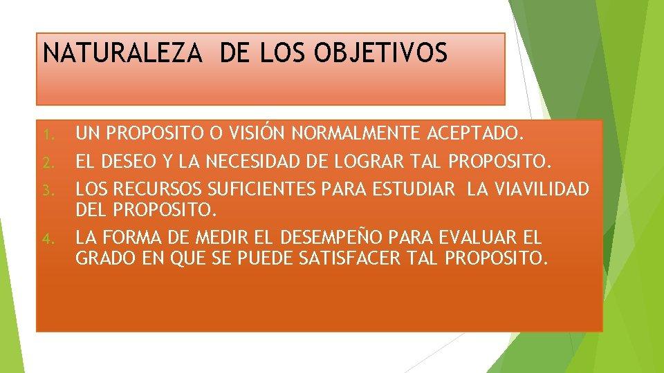 NATURALEZA DE LOS OBJETIVOS UN PROPOSITO O VISIÓN NORMALMENTE ACEPTADO. 2. EL DESEO Y