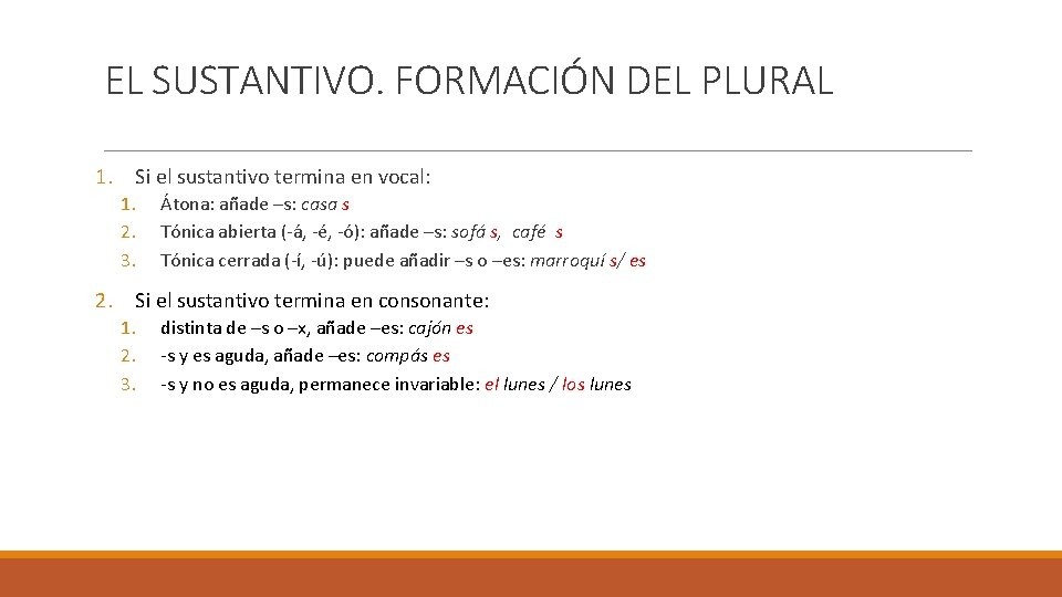 EL SUSTANTIVO. FORMACIÓN DEL PLURAL 1. Si el sustantivo termina en vocal: 1. 2.