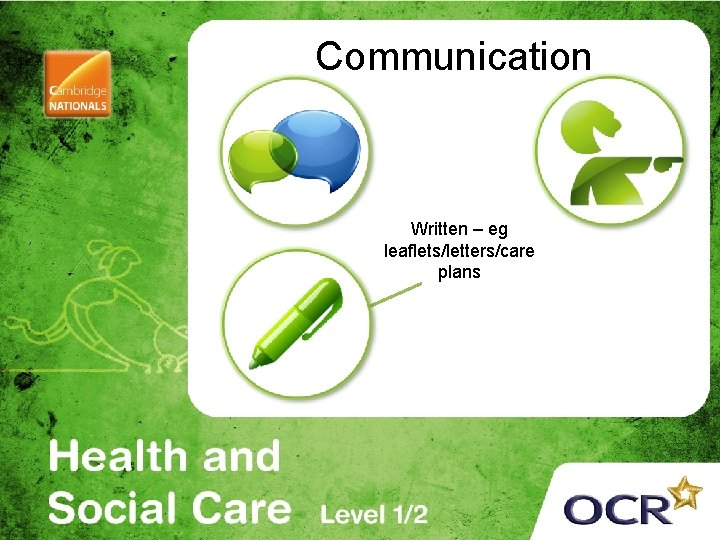 Communication Written – eg leaflets/letters/care plans