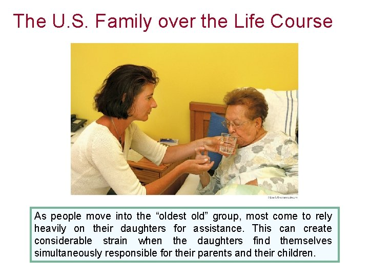 """The U. S. Family over the Life Course As people move into the """"oldest"""