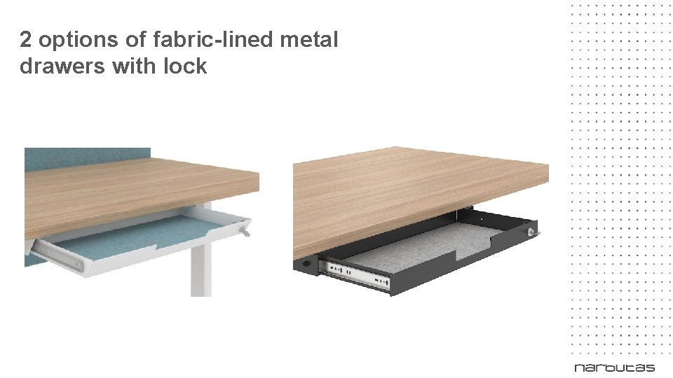 2 options of fabric-lined metal drawers with lock NEW