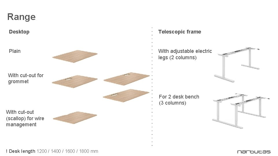 Range Desktop Telescopic frame Plain With adjustable electric legs (2 columns) With cut-out for