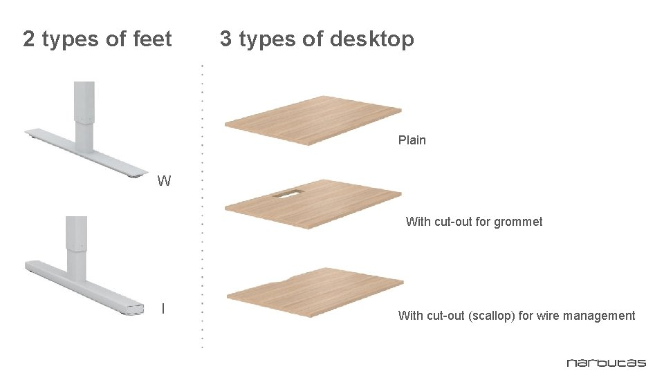 2 types of feet 3 types of desktop Plain W With cut-out for grommet