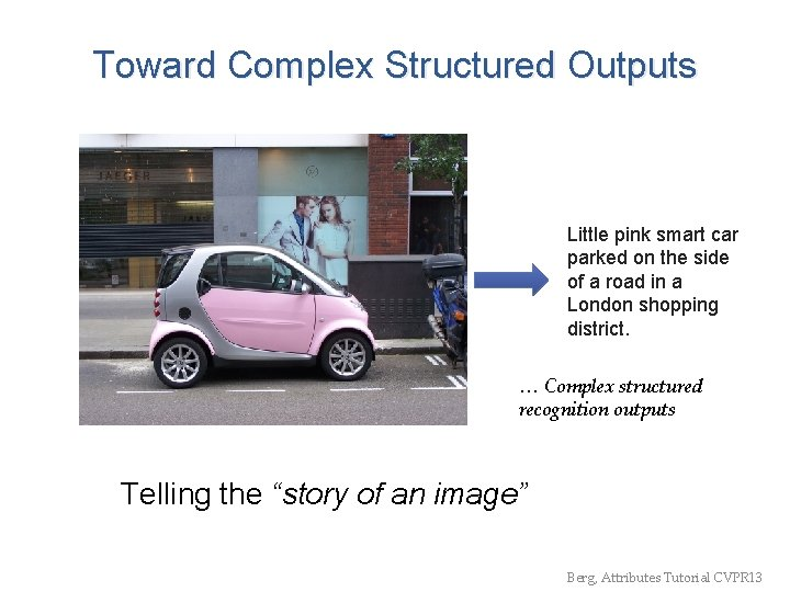 Toward Complex Structured Outputs Little pink smart car parked on the side of a