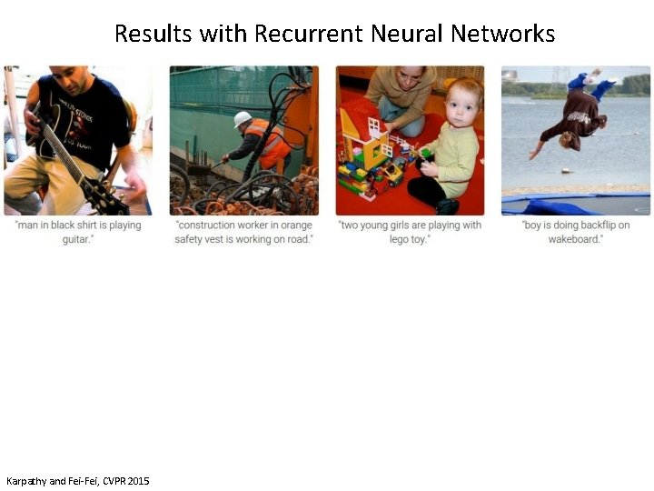 Results with Recurrent Neural Networks Karpathy and Fei-Fei, CVPR 2015