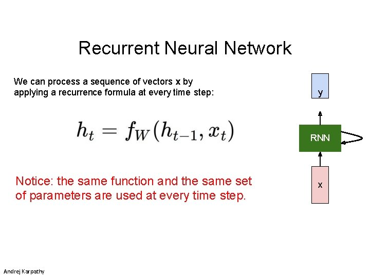 Recurrent Neural Network We can process a sequence of vectors x by applying a