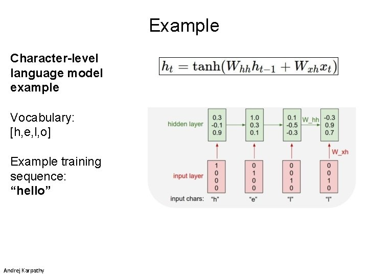 """Example Character-level language model example Vocabulary: [h, e, l, o] Example training sequence: """"hello"""""""