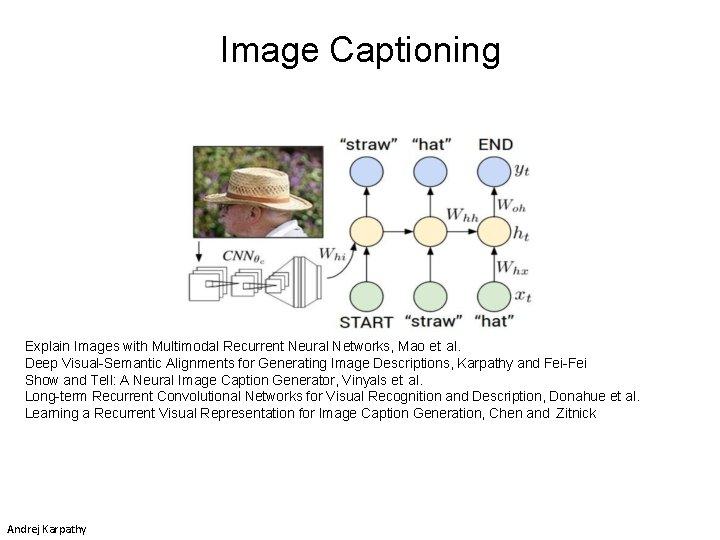 Image Captioning Explain Images with Multimodal Recurrent Neural Networks, Mao et al. Deep Visual-Semantic