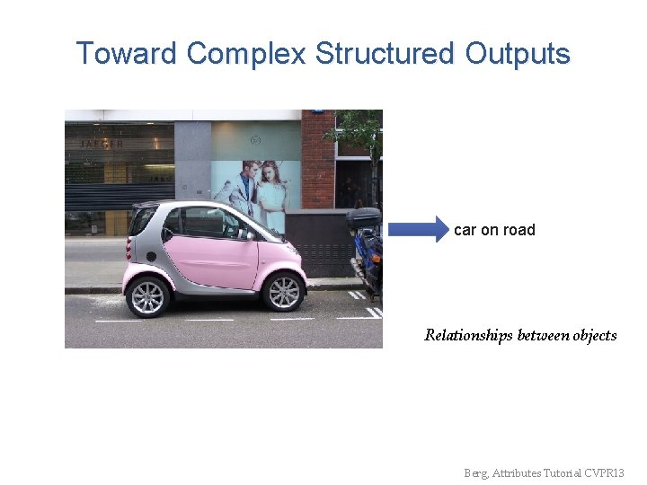 Toward Complex Structured Outputs car on road Relationships between objects Berg, Attributes Tutorial CVPR