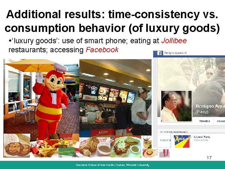Additional results: time-consistency vs. consumption behavior (of luxury goods) 'luxury goods': use of smart