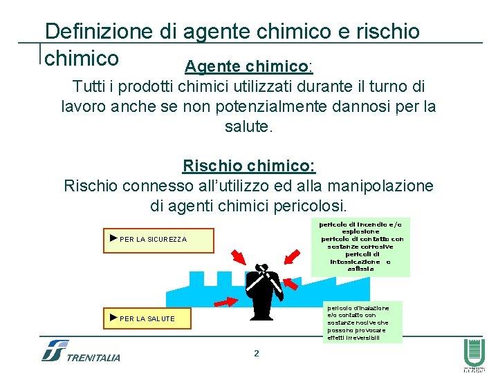 Definizione di agente chimico e rischio chimico Agente chimico: Tutti i prodotti chimici utilizzati