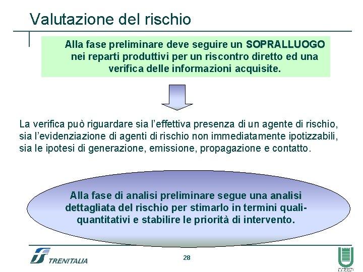 Valutazione del rischio Alla fase preliminare deve seguire un SOPRALLUOGO nei reparti produttivi per