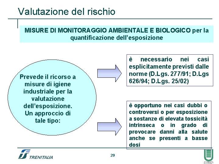Valutazione del rischio MISURE DI MONITORAGGIO AMBIENTALE E BIOLOGICO per la quantificazione dell'esposizione è