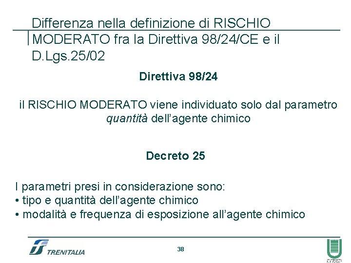 Differenza nella definizione di RISCHIO MODERATO fra la Direttiva 98/24/CE e il D. Lgs.