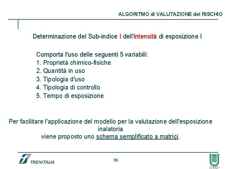 ALGORITMO di VALUTAZIONE del RISCHIO Determinazione del Sub-indice I dell'intensità di esposizione I Comporta