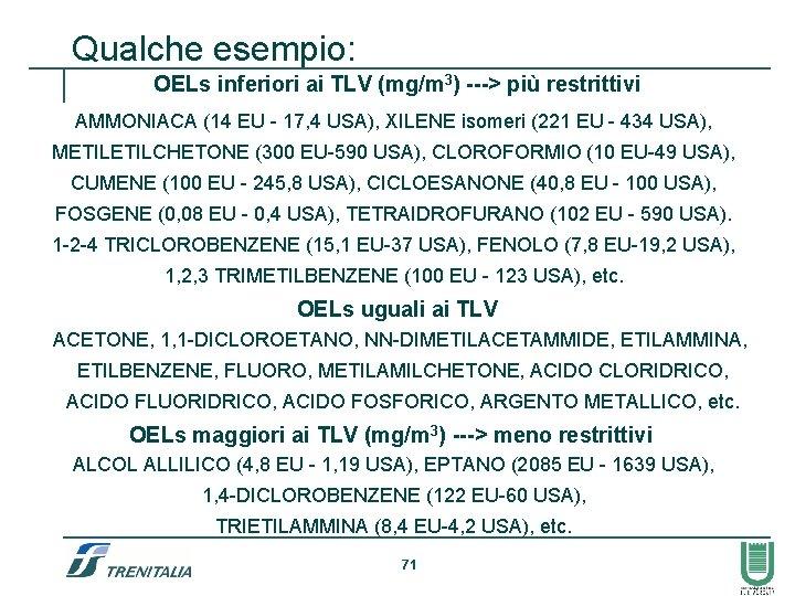 Qualche esempio: OELs inferiori ai TLV (mg/m 3) ---> più restrittivi AMMONIACA (14 EU