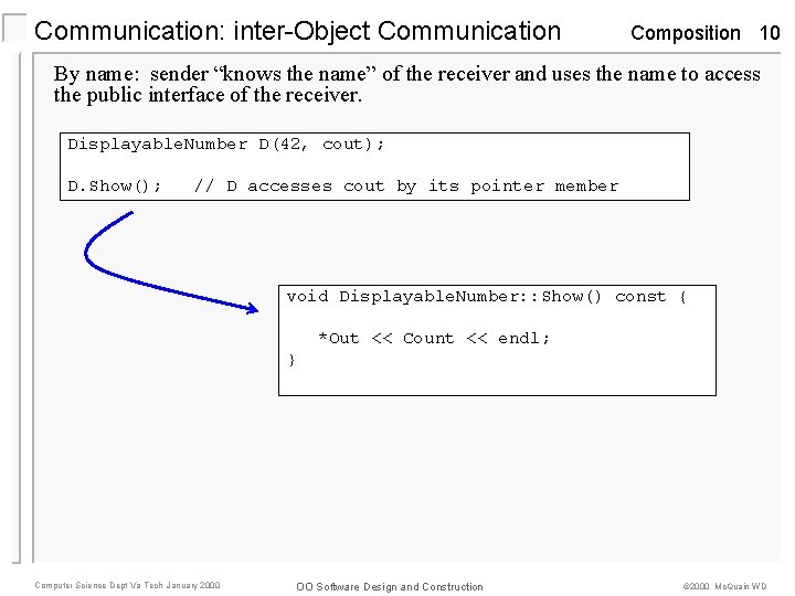 """Communication: inter-Object Communication Composition 10 By name: sender """"knows the name"""" of the receiver"""