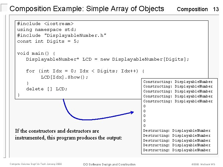 Composition Example: Simple Array of Objects Composition 13 #include <iostream> using namespace std; #include